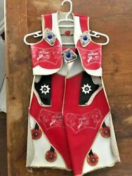 Vintage 1950and039s Rare Roy Rogers Childand039s Leather Outfit Vest And Chaps W 2 Holsters