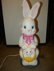 Vintage Lighted Blow Mold 22 Easter Bunny With Bunny In Basket Empire 1995
