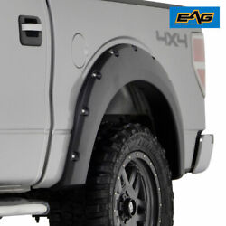 Eag Fits 09-14 Ford F150 Textured Pocket Riveted Bolt On Style Fender Flares