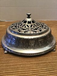Superb Antique Scenic Pierced Footed Silver Plate Covered Dish 9x5 Fs Co.