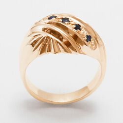 18ct Rose Gold Natural Sapphire Womens Band Ring - Sizes J To Z