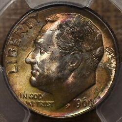 1960-d Roosevelt Dime Pcgs Ms67+ Absolutely Amazing Toning Davidkahnrarecoins