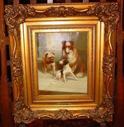 Antique Oil On Canvas-julius Hartung-3 Dogs-bulldog,a Collie,jack Russell--15363