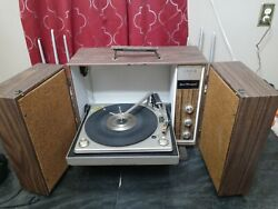 Vintage Zenith Solid State Stereo Phonograph Turntable Speaker Cabinet As Is