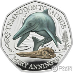 Temnodontosaurus Mary Anning Silver Coin 50 Pence United Kingdom 2021
