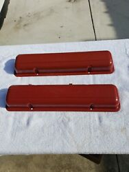 Sbc Chevy Gm Stamped Script Valve Covers 265 And Early 283 Oem Vintage Staggered O