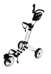 360 Swivel 3 Wheel Push Pull Golf Cart With 360 Rotating Front White/white