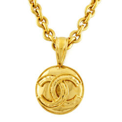 Necklace Gold Metal Coco Mark Vintage From Japan