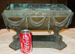 Exceptional Antique Bronze And Copper Decorated Planter-very Fine Detail--15547