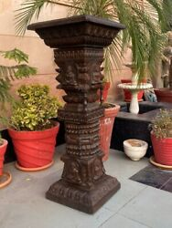 Antique Wooden Hand Carved Jain Temple With Buddha Figure Floral Pillar Panel
