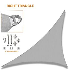 Gray Equal Triangle Heavy Duty Steel Wire Sun Shade Sail Patio Cover W/8 Kit