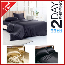 New Satin Sheets Queen Size Soft Silk Feel Bedding 4pc Set Luxury Bed Linen
