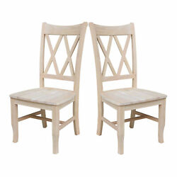 Set Of 2 Rustic Farmhouse Dining Chairs High Back Sturdy Solid Wood Unfinished