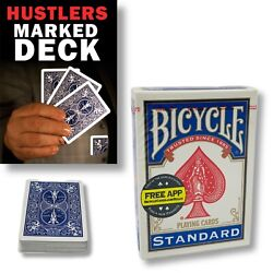 Mak Magic Marked Deck Hustlers Blue Bicycle Playing Cards Deal Shark Mentalism