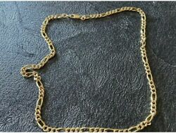 14kt Solid Yellow Gold 5 Mm Wide 18 Inch Figaro Chain Necklace.