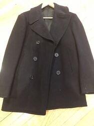 Vintage Us Navy Usn Wool Navy Blue Military Peacoat Anchor Buttons 38r Vtg