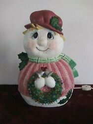 Vintage Snowman Lady Holding Wreath Lighted Ceramic Snowman 12.5 Inches