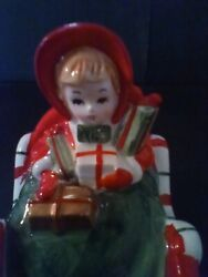 Vintage Lefton Girl In Candycane Cane Sleigh With Presents Music Box