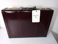 Heritage Burgundy Leather Unisex Deluxe Attache Legal Expandable Briefcase