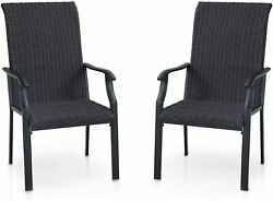 Outdoor Rattan Chairs Set Of 2/4 Wicker Patio Chairs Dining Armchair Dark Coffee