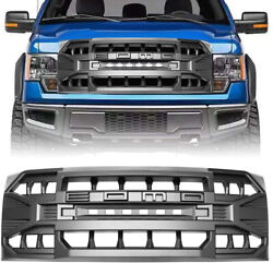 Matte Black Front Armor Grille W/off-road Lights For Ford F150 2009-2014 Abs