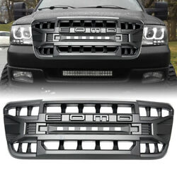 Matte Black Front Armor Grille W/off-road Lights For Ford F150 2004-2008 Abs