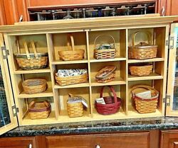 Brand New Longaberger Maple Display Cabinet Nos W 12 New Assorted Small Baskets