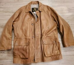 Loro Piana Mens Brown Leather Jacket Cashmere Lined Xl