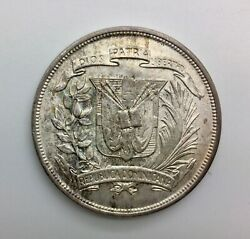 1952 Dominican Republic One Peso Km22 Lt Toning Blazing Lustre Very Nice Coin