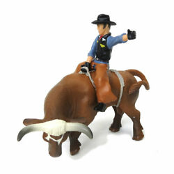 1/16 Little Buster Toys Brown Bucking Bull And Rider Rodeo Farm Toys 500248