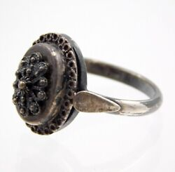 Antique European 800 Silver Filigree Ring Size 7 Two Marks On Band 2.9 Grams