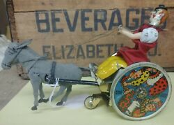 Antique Germany Lehmann Wind Up Tin Toy The Balky Mule Donkey Works