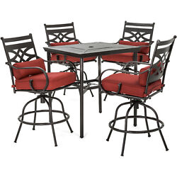 Hanover Montclair 5-piece High-dining Patio Set In Chili Red With 4 Swivel Chair