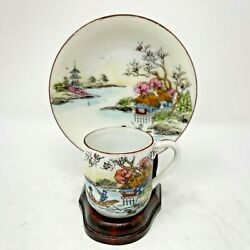 Japan Porcelain Hand Painted Scenic Tea Cup And Saucer Set On Stand Miniature