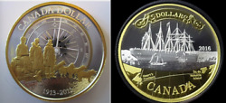 2013 And 2016 Canadian 7-coin Silver Proof Sets - Each Set Has 3 Gilt Dollar Coins