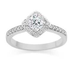 Pave 0.65 Cts Round Brilliant Cut Diamonds Engagement Halo Ring In 750 18k Gold