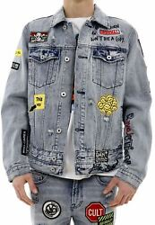 Cult Of Individuality Double Cuff And Waistband In Graffiiti Type V Denim Jacket