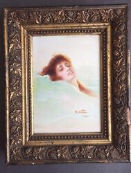 Antique Impressionist Oil Painting By Decio Villares, Woman, Signed And Framed
