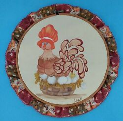 Hand Painted Handcrafted Embroidery Hoop Framed Chicken Hens Sitting on Eggs