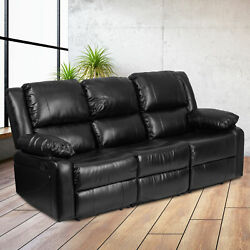Bustle Back Leathersoft Sofa With Two Built-in Recliners