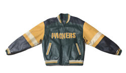 Preowned- Vintage 1995 Green Bay Packers Leather Varsity Jacket Mens Size L