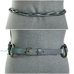 Eileen Fisher 98 38-39.5 Waist Silver Loose Braided Woven Ring Belt Leather