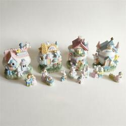 Whimsical Decor And More Illuminated Ceramic Easter Bunny Duck Pastel Town Set