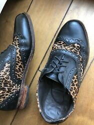 Vintage Handmade Leather Shoes Female Us8 Black Leopard Shipping From China.