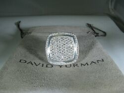 David Yurman Authentic Silver Albion 20 Mm Pave Diamond Ring Size6.5 D.y. Pouch