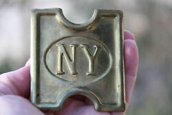 Ny Military Indian War Brass Belt Buckle Civil Soldier Uniform Accessory
