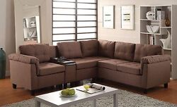 Sectional Sofa Rolled Arms Storage And Cup Holders Contemporary Home Furniture
