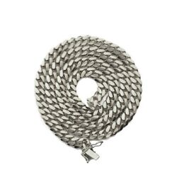 10k White Gold 6mm Solid Miami Cuban Link Chain Necklace With Secure Box Lock
