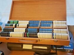 Vintage Wood Box Filled With Casino Poker Chips - Approx 450 ++
