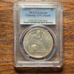1860 O Seated Liberty Dollar Uncirculated Unc Details Pcgs